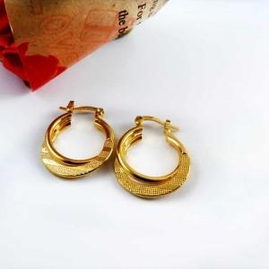 گوشواره زنانه طرح حلقه ای برنجی با روکش آب طلای 18 عیار pr-ear113 از نمای دور