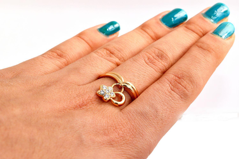 انگشتر دخترانه ژوپینگ با روکش آب طلای 18 عیار و آویز ستاره ای و نگین کریستالی سفید rg-140 (3)