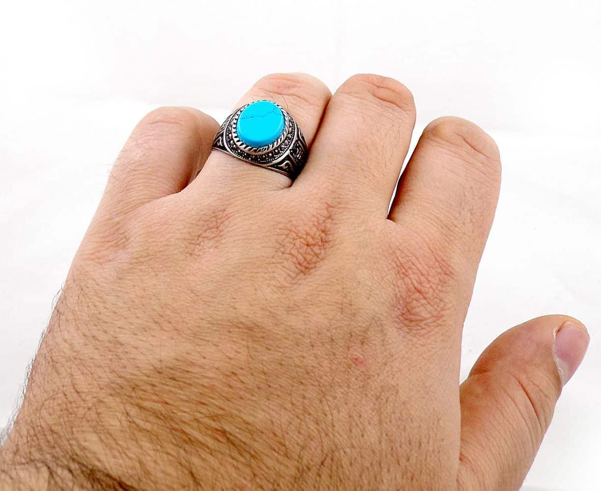انگشتر مردانه استیل با طرح ورساچه و سنگ طرح فیروزه pr-ma114