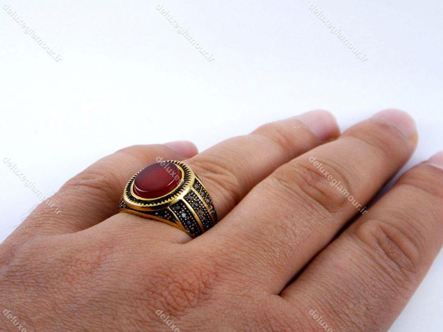 انگشتر مردانه استیل طرح سنگ عقیق pr-rm106