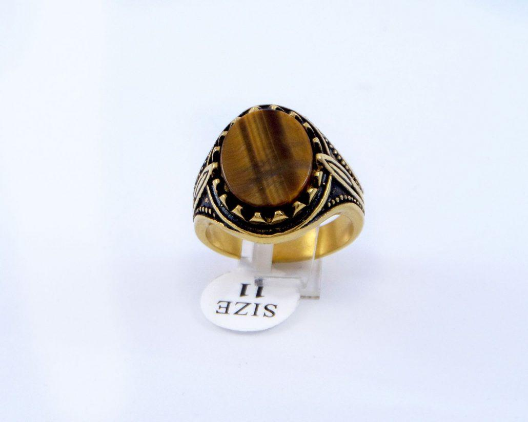 انگشتر مردانه استیل سنگ عقیق با روکش آب طلای 18 عیار pr-m110 از نمای روبرو