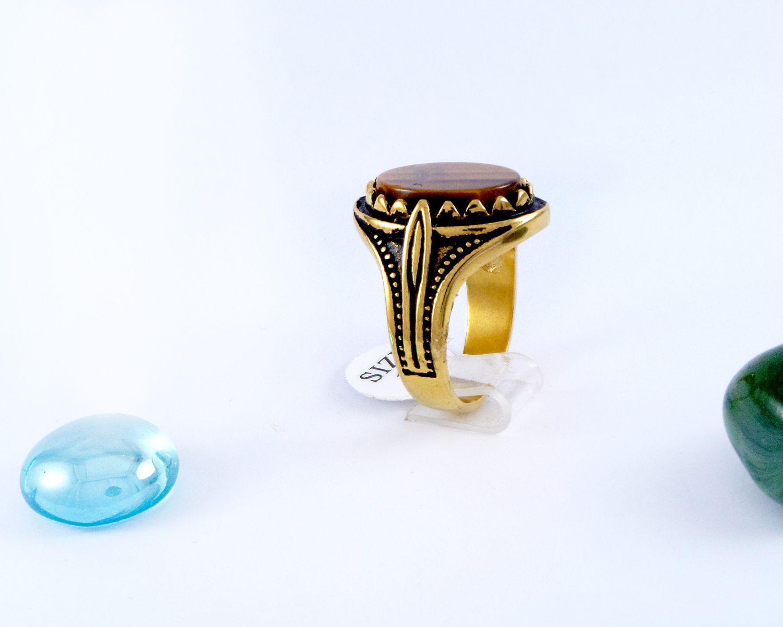 انگشتر مردانه استیل سنگ عقیق با روکش آب طلای 18 عیار pr-m110
