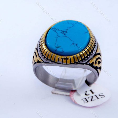 انگشتر مردانه استیل طرح فیروزه دو رنگ نقره ای و طلایی PR-M107 از نمای روبرو