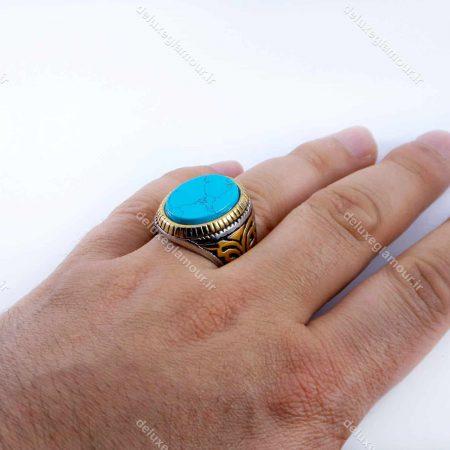 انگشتر مردانه استیل طرح فیروزه دو رنگ نقره ای و طلایی PR-M107 از نمای بالا