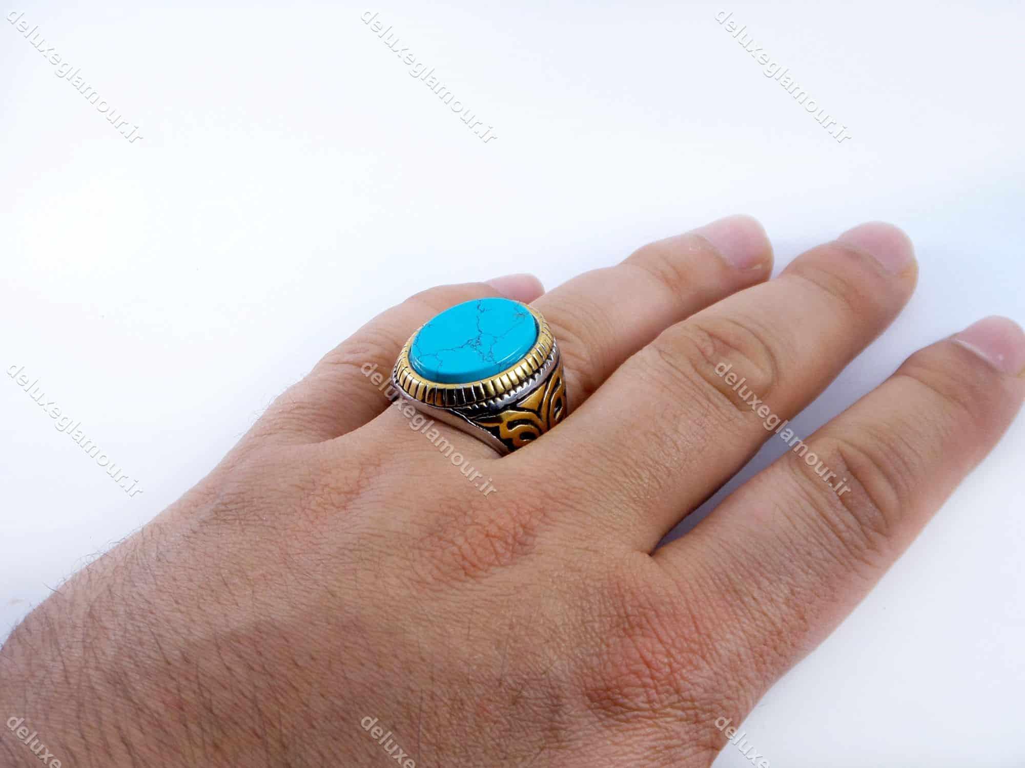 انگشتر مردانه استیل طرح فیروزه دو رنگ نقره ای و طلایی PR-M107