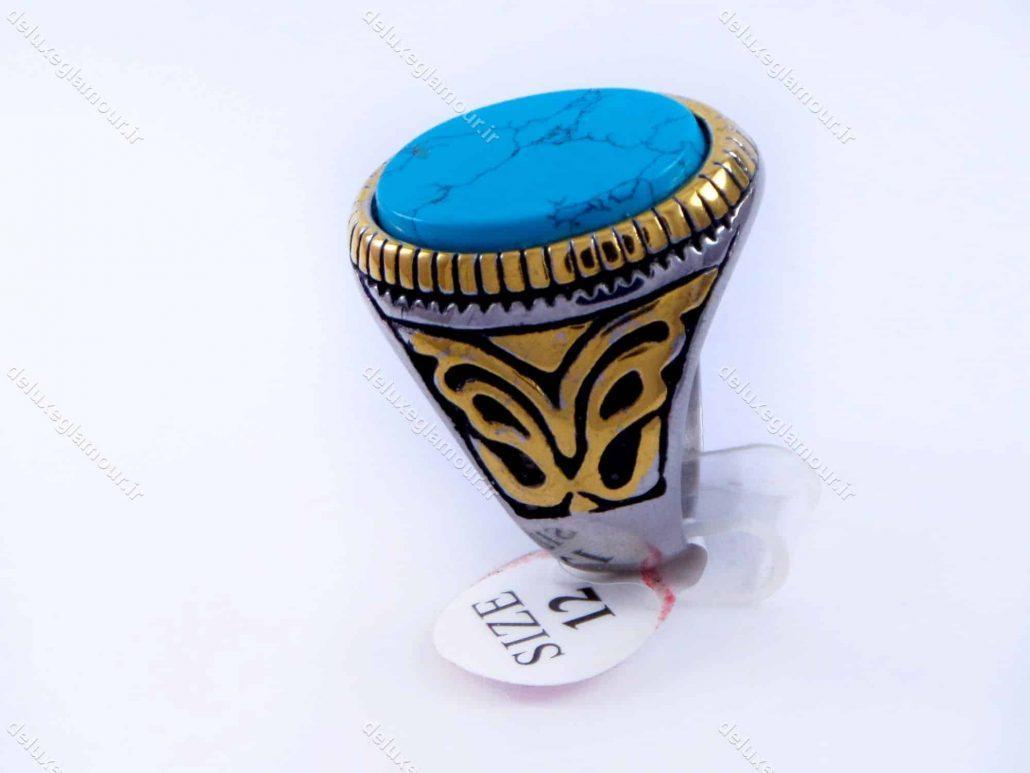 انگشتر مردانه استیل طرح فیروزه دو رنگ نقره ای و طلایی PR-M107 از نمای کنار