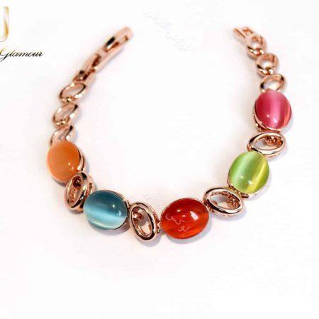 دستبند دخترانه رزگلد و ظریف کلیو با سنگ اپال رنگی ds-n164