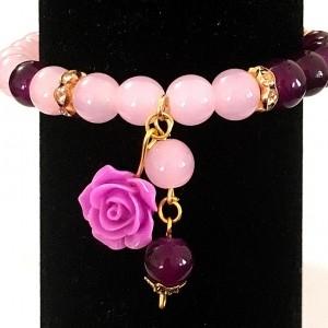 دستبند دخترانه صورتي و بنفش جنس سنتتيك،تركيب با گل فومي ah-d106 از نمای روبرو