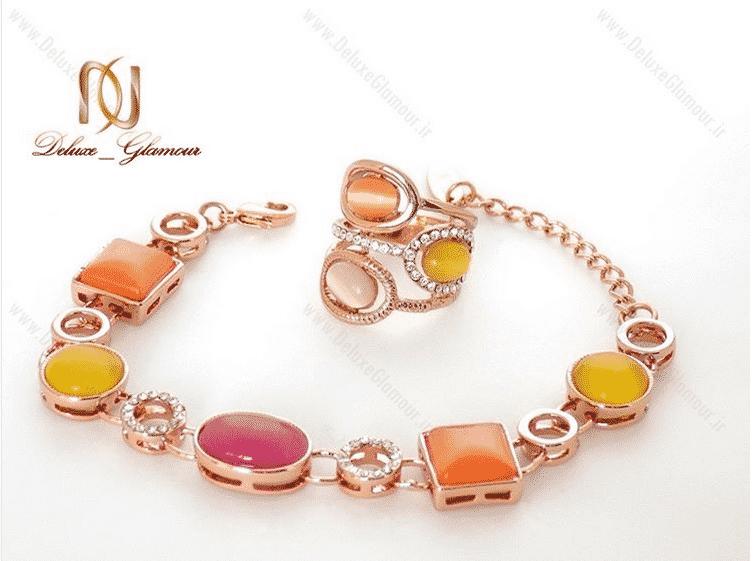 دستبند دخترانه فانتزی کلیو با کریستال های سواروکسی و اپال رنگی ds-n92 دستبند و انگشتر