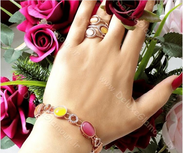 دستبند دخترانه فانتزی کلیو با کریستال های سواروکسی و اپال رنگی ds-n92 (2)