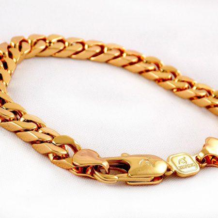 دستبند زنانه زنجیری طرح طلای ژوپینگ با روکش آب طلای 18 عیار و طول 20 سانتی ds-n171 از نمای پایین