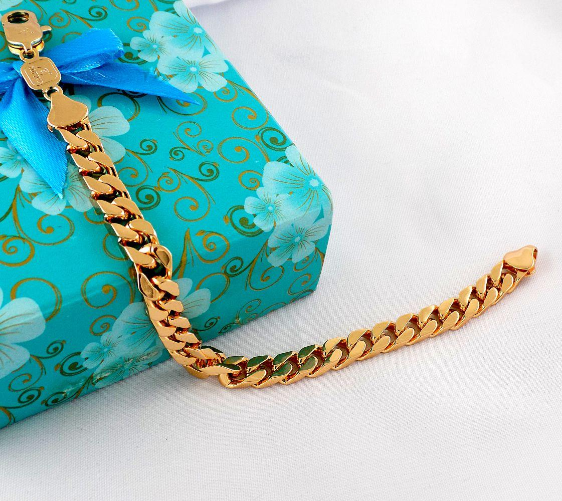 دستبند زنانه زنجیری طرح طلای ژوپینگ با روکش آب طلای 18 عیار و  طول 20 سانتی ds-n171