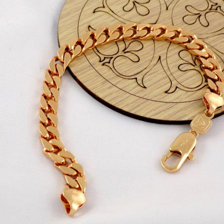 دستبند زنانه زنجیری طرح طلای ژوپینگ با روکش آب طلای 18 عیار و طول 20 سانتی ds-n171 از نمای روبرو