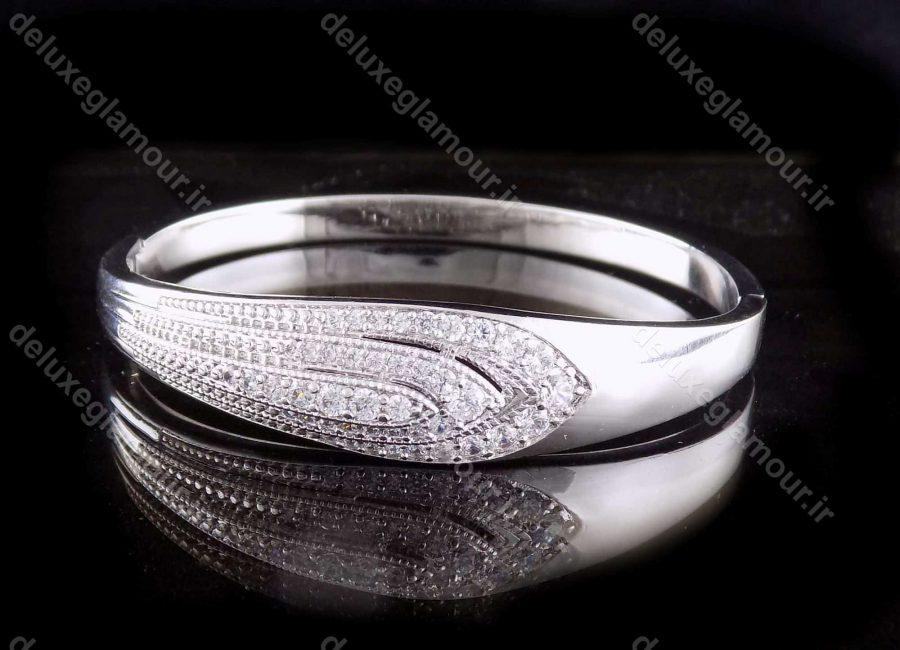 دستبند زنانه ژوپینگ با روکش رادیوم و نگین های کریستالی زیرکونیا ds-n167