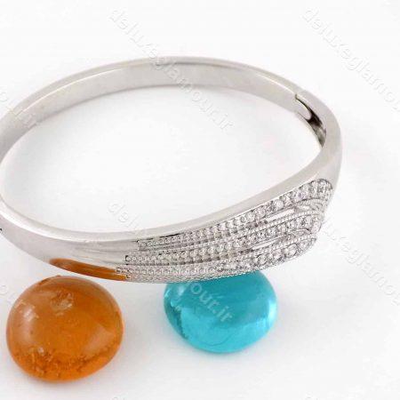 دستبند زنانه ژوپینگ با روکش ردایوم و نگین های کریستالی زیرکونیا ds-n167 از نمای بالا