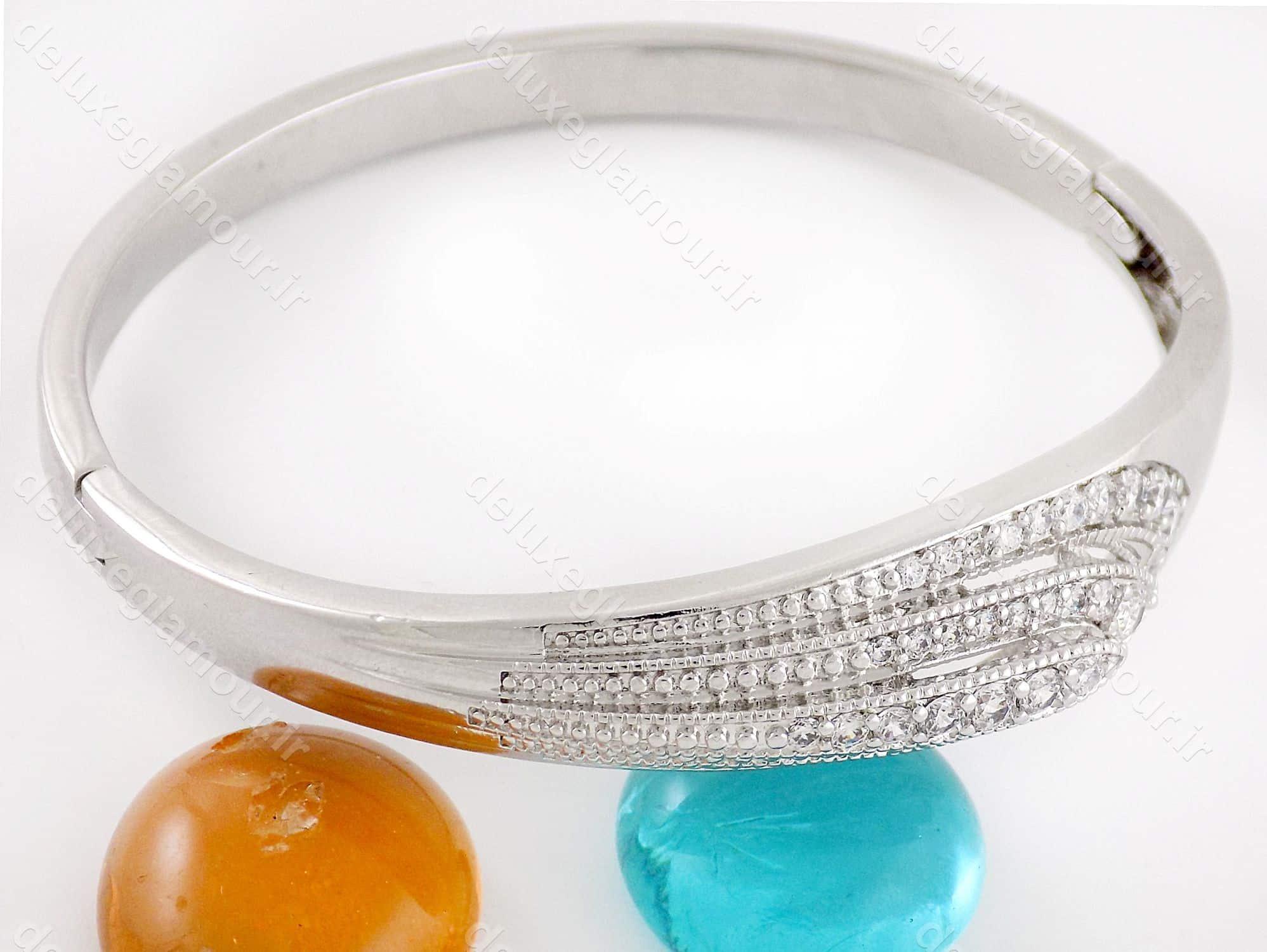 دستبند زنانه ژوپینگ با روکش ردایوم و نگین های کریستالی زیرکونیا ds-n167