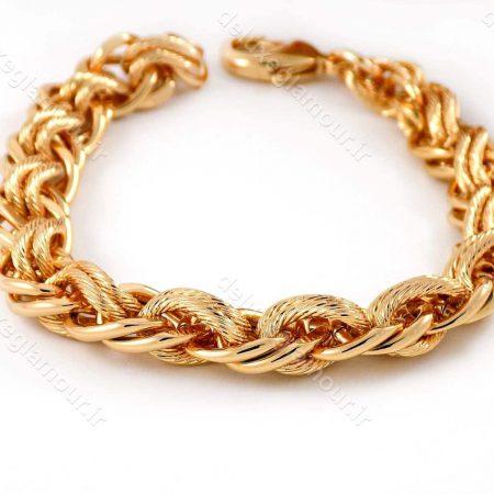 دستبند زنانه ژوپینگ طرح کارتیه با طول 20 سانتی و روکش آب طلای 18 عیار ds-n166 از نمای نزدیک