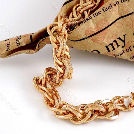 دستبند زنانه ژوپینگ طرح کارتیه با طول 20 سانتی و روکش آب طلای 18 عیار ds-n166 از نمای کنار