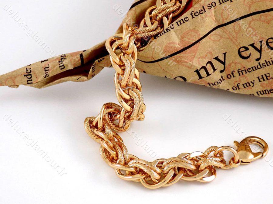 دستبند زنانه ژوپینگ طرح کارتیه با طول 20 سانتی و روکش آب طلای 18 عیار ds-n166
