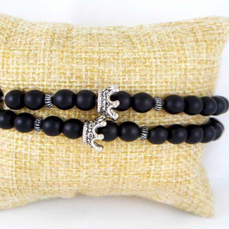 دستبند ست دخترانه و پسرانه جنس سنگ اونيكس مات با مهره استیل ah-d105 از نمای روبرو