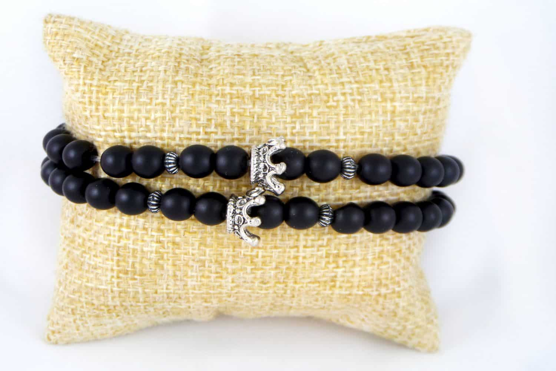 دستبند ست دخترانه و پسرانه جنس سنگ اونيكس مات با مهره استیل ah-d105 (3)