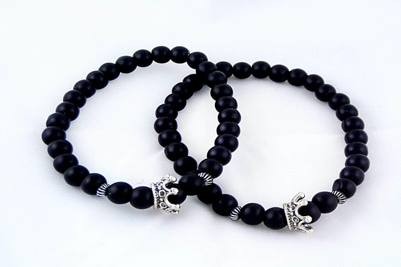 دستبند ست دخترانه و پسرانه جنس سنگ اونيكس مات با مهره استیل ah-d105 از نمای بالا