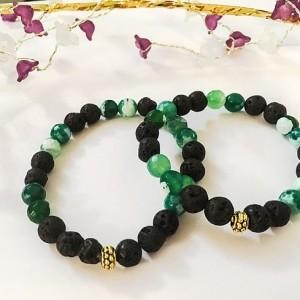 دستبند ست دخترانه و پسرانه سنگ لاوا و سنگ عقيق سبز ah-d101 ازنمای بالا