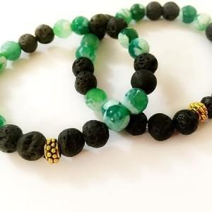 دستبند ست دخترانه و پسرانه سنگ لاوا و سنگ عقيق سبز ah-d101 از نمای روبرو