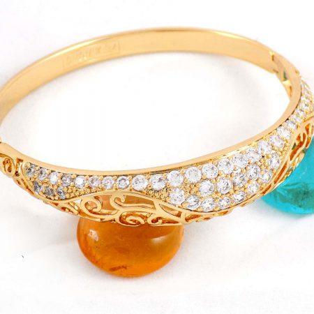 دستبند طرح طلای ژوپینگ با نگین های کریستالی سفید زیرکن ds-n162 از نمای بالا
