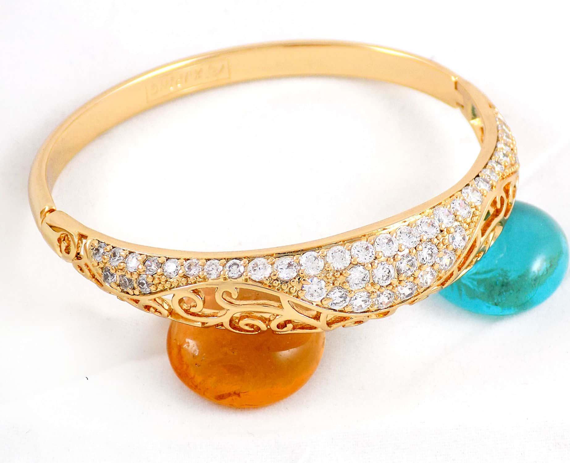 دستبند طرح طلای ژوپینگ با نگین های کریستالی سفید زیرکن ds-n162 (2)