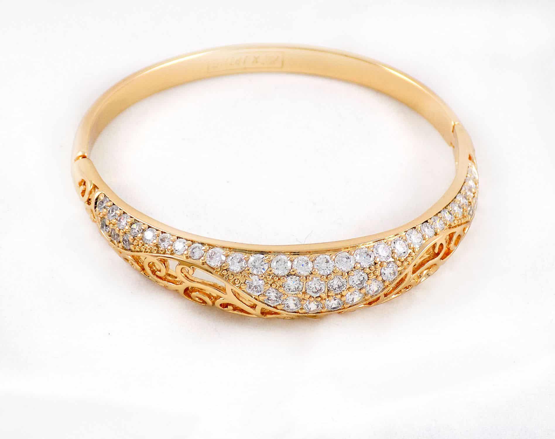 دستبند طرح طلای ژوپینگ با نگین های کریستالی سفید زیرکن ds-n162