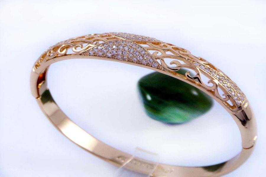 دستبند ژوپینگ با قطر 57 میلی متری و نگین های کریستالی سفید زیرکن ds-n159
