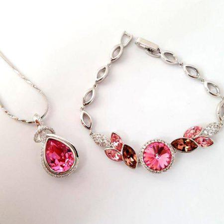 ست دستبند و گردنبند صورتی ژوپینگ با کریستالهای سواروسکی NB-n100