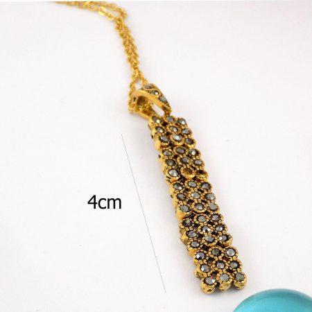 نیم ست گوشواره و گردنبند طرح طلا با نگین های مارکازیت مشکی pr-s141 از نمای بالا
