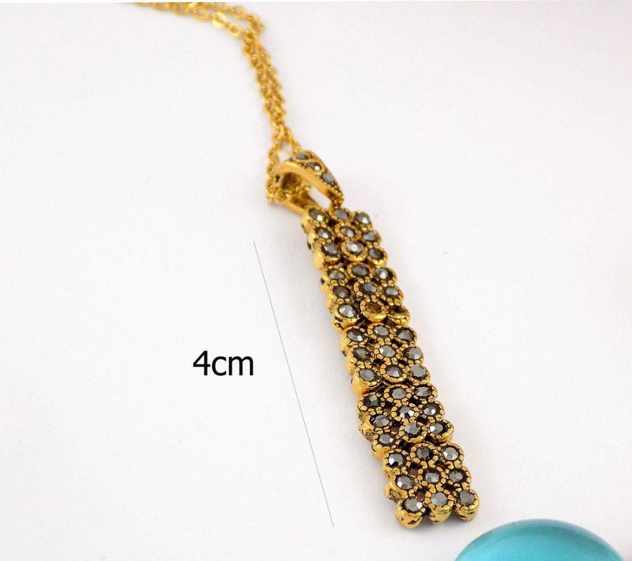 نیم ست گوشواره و گردنبند طرح طلا با نگین های مارکازیت مشکی pr-s141