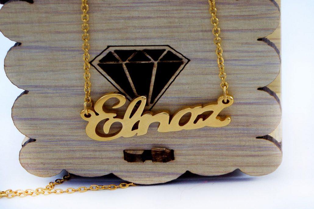 گردنبند اسم الناز استیل با روکش آب طلای 18 عیار و زنجیر 22 سانتی pr-g119 از نمای نزدیک
