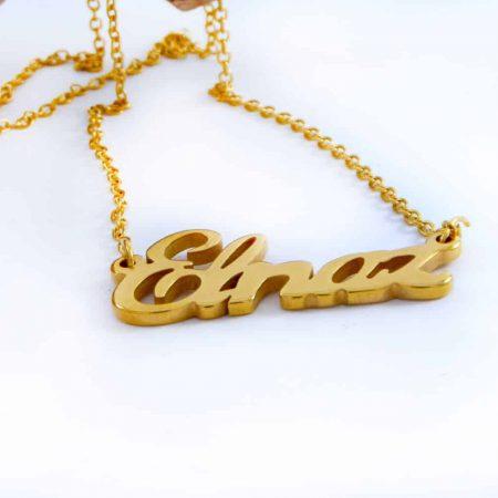 گردنبند اسم الناز استیل با روکش آب طلای 18 عیار و زنجیر 22 سانتی pr-g119 از نمای کنار
