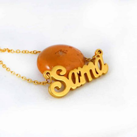 گردنبند اسم سما استیل با روکش آب طلای 18 عیار و زنجیر 22 سانتی pr-g120 از نمای بالا