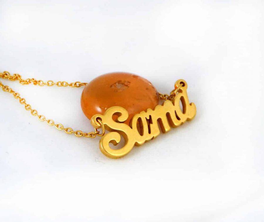 گردنبند اسم سما استیل با روکش آب طلای 18 عیار و زنجیر 22 سانتی pr-g120