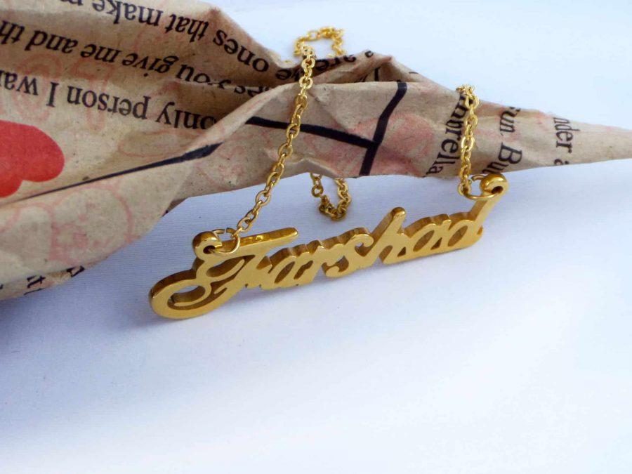 گردنبند اسم فرشاد استیل با روکش آب طلای 18 عیار pr-g120