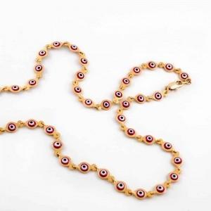 گردنبند بچه گانه ژوپینگ با طرح چشم نظر و روکش آب طلای 18 عیار se-n102 از نمای بالا