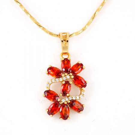 گردنبند دخترانه ژوپینگ با نگین های قرمز درخشان و روکش آب طلا pr-g121