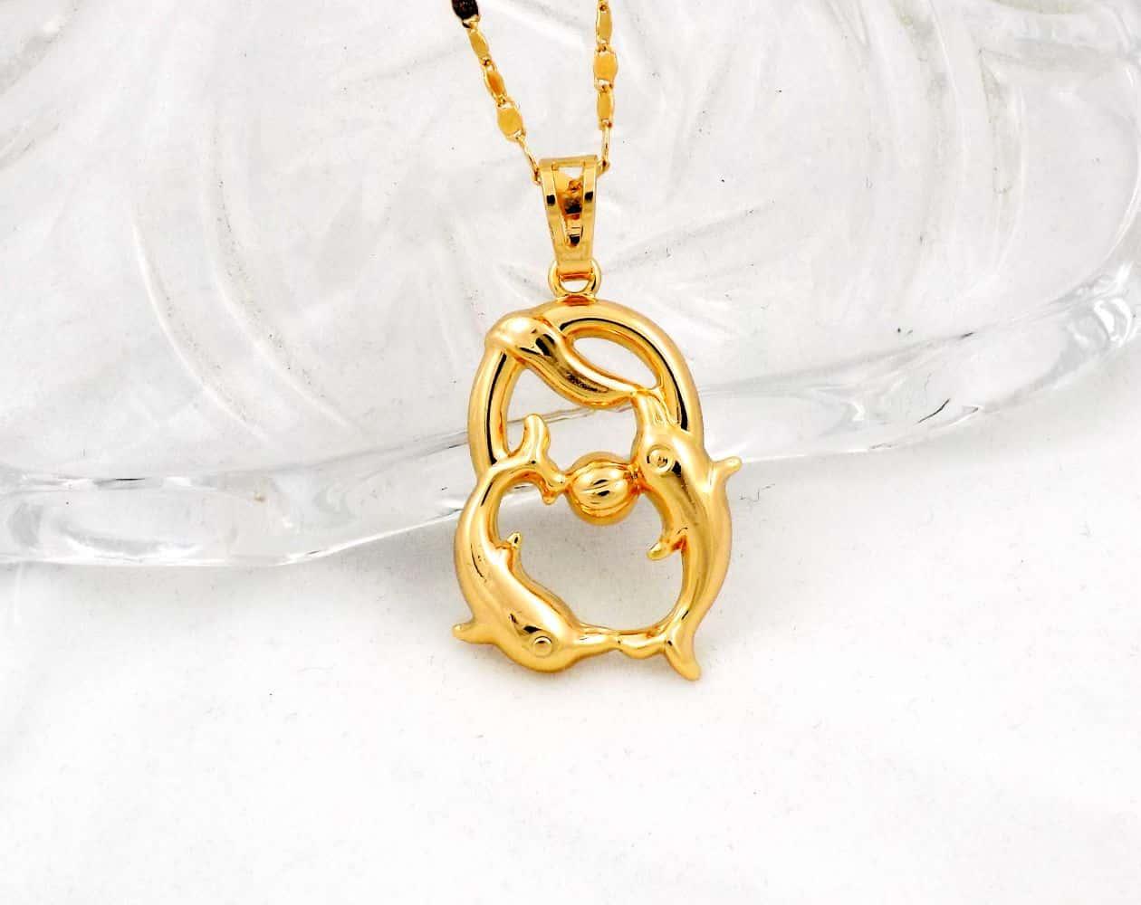 گردنبند دخترانه ژوپینگ ماه تولد اسفند ماه با نماد ماهی nw-n126 از نمای روبرو