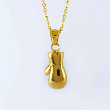 گردنبند دستکش بوکس اسپورت استیل با روکش آب طلای 18 عیار pr-g116 از نمای بالا