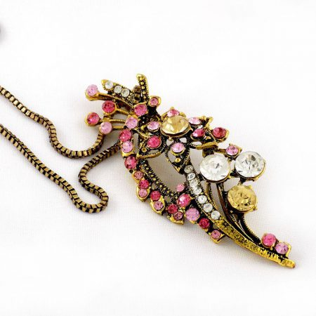 خرید گردنبند رومانتویی دخترانه برنزی با زنجیر 37 سانتی دولا و نگین های رنگی pr-ma116 از نمای کنار