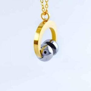 گردنبند طرح هدفون استیل طلایی و نقره ای با زنجیر 22 سانتی pr-g114 از نمای دور