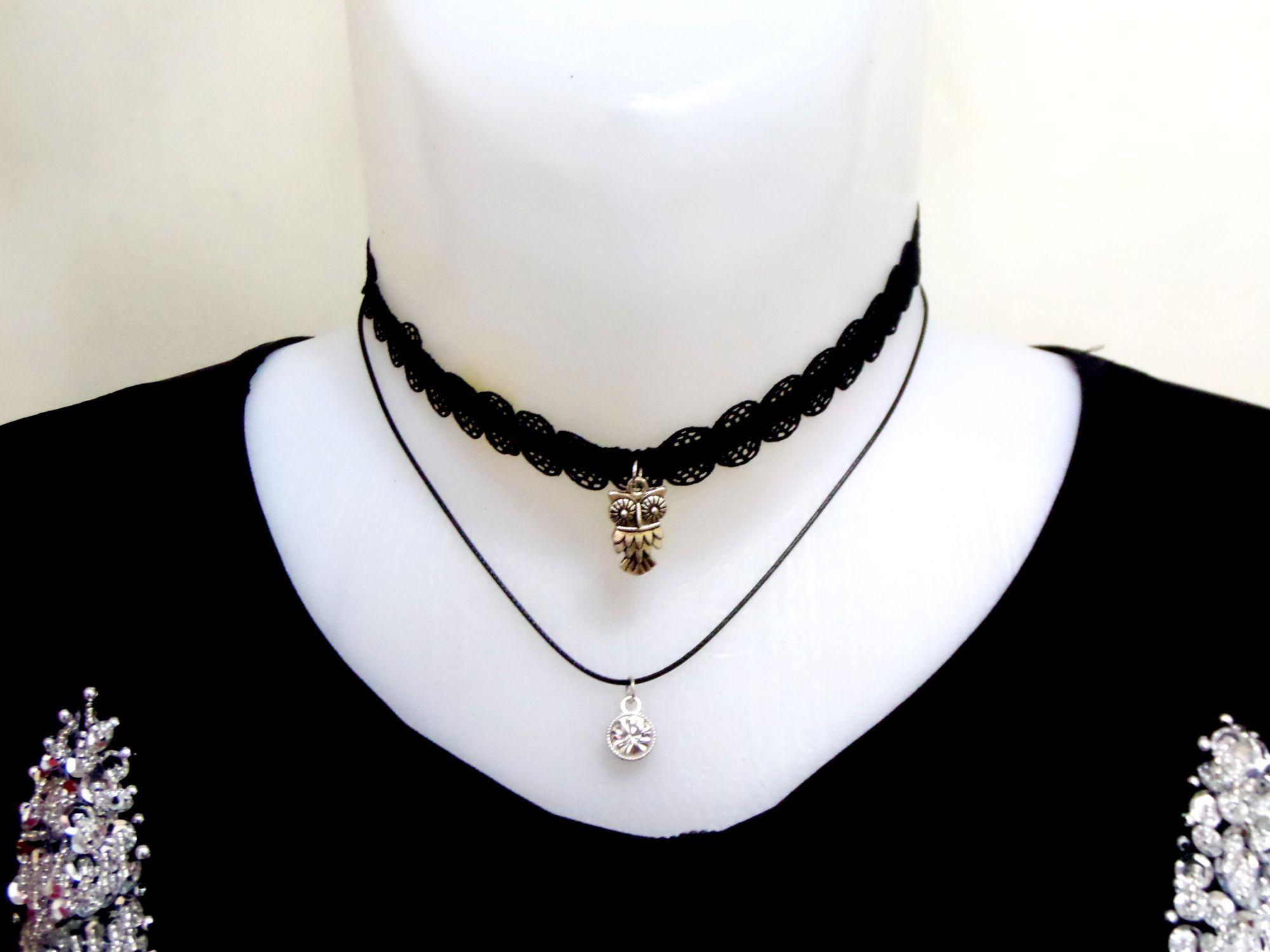 گردنبند چوکر دولاینه گیپوری با نگین کریستالی سفید و مهره جغد pr-d101