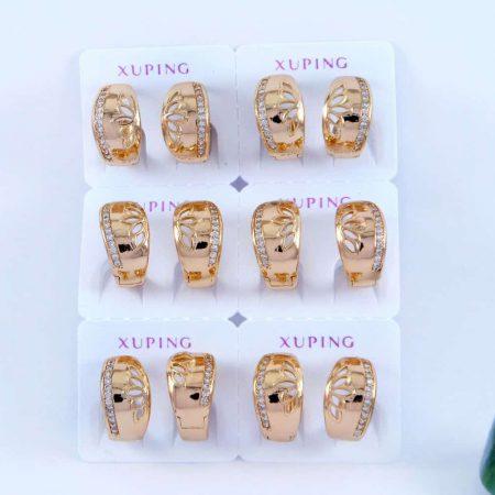 گوشواره ژوپینگ حلقه ای طرح طلا و با نگین های کریستالی سفید ER-N124 از نمای روبرو