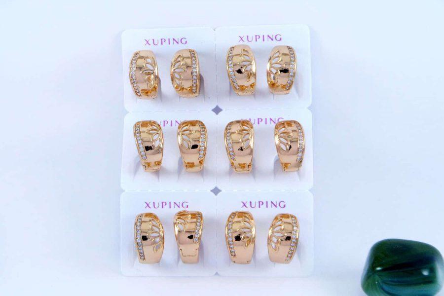 گوشواره ژوپینگ حلقه ای طرح طلا و با نگین های کریستالی سفید ER-N124
