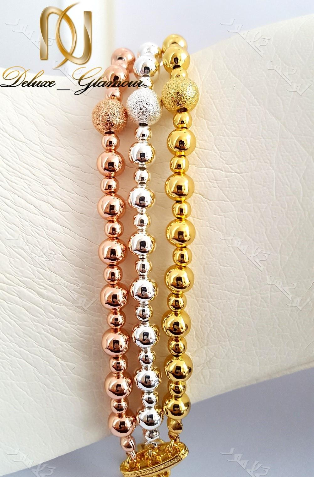 دستبند دخترانه سه ردیفه طرح توپی با سه ردیف رزگلد،طلایی و نقره ای کلیو Ds-n168 عکس اصلی